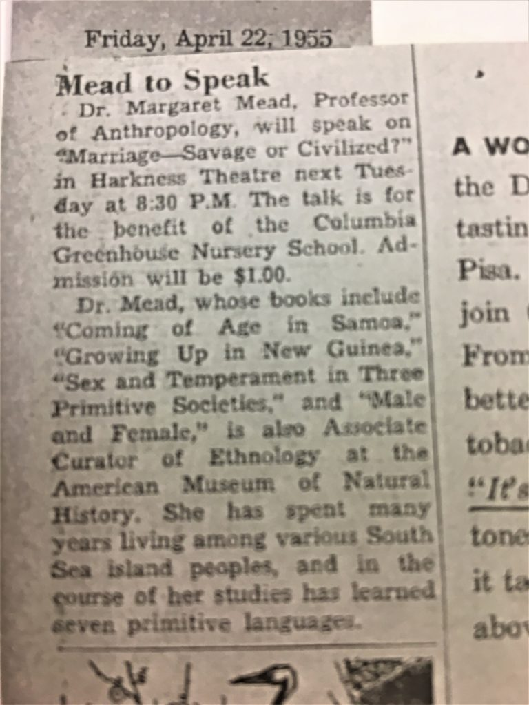 1955: Margaret Mead hosted a lecture to benefit Greenhouse